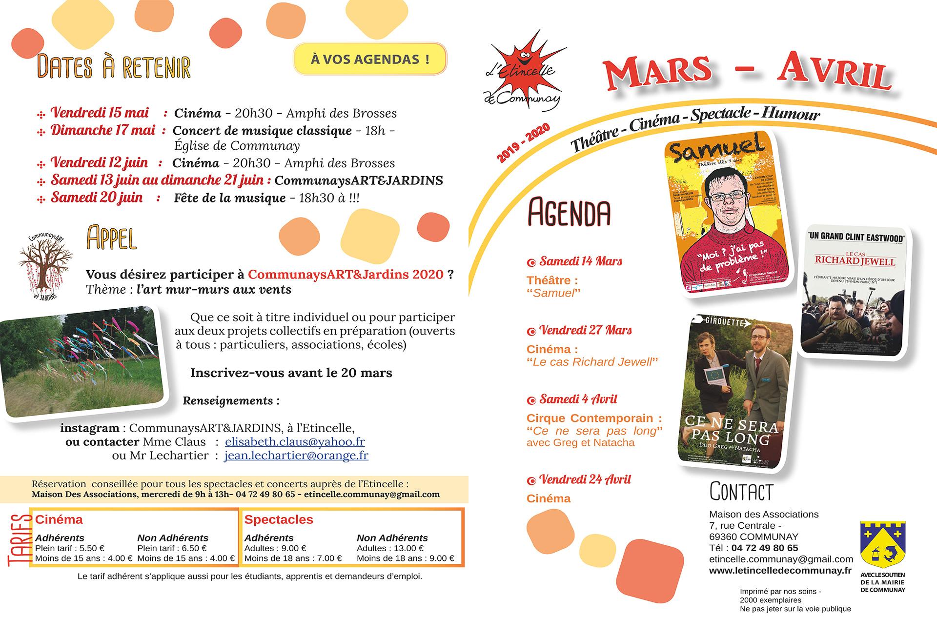 Activités de l'Étincelle : Mars-Avril  2019-2020, p.1
