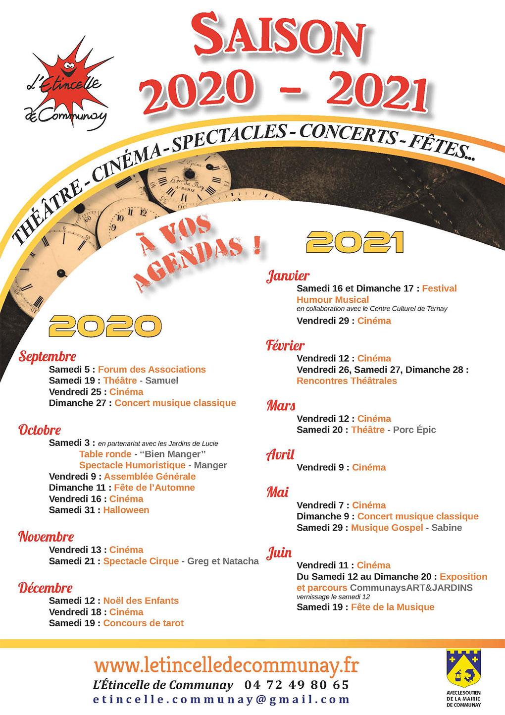 l'Etincelle-saison 2020-2021 : théâtre-cinéma-spectacles-concerts-fêtes
